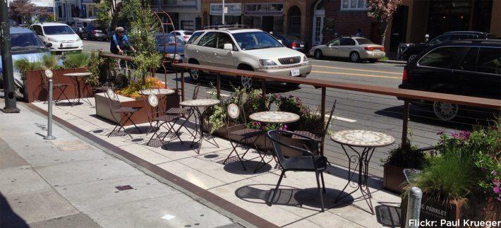 Parklet em São Francisco, EUA. Foto Transform