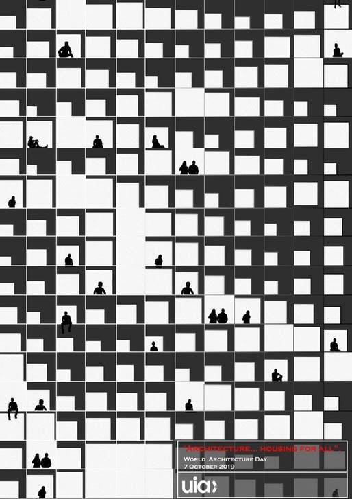 Poster da Arquiteta Huda Gharandouqa, Vencedor em 2019. Divulgação/UIA